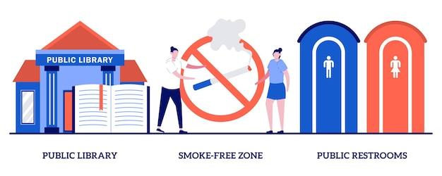 Ensemble de bibliothèque publique, zone sans fumée, toilettes publiques, service public