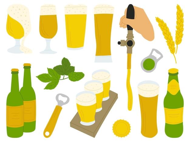Ensemble de bières dessinées à la main avec accessoires