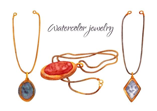Ensemble de bijoux anciens à l'aquarelle. collier vintage avec chaîne en or et pierre précieuse