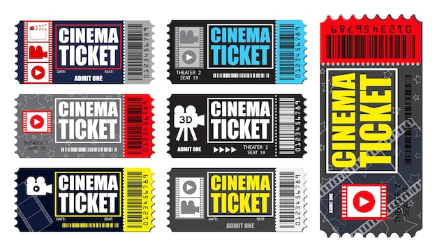 Ensemble de billets de cinéma réalistes isolés dans divers vecteurs eps de couleur
