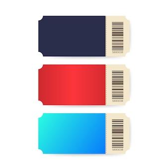 Ensemble de billets. tickets de modèles. billet de cinéma coloré isolé sur fond blanc.