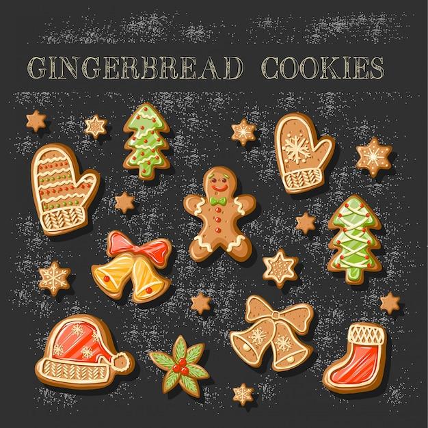 Ensemble de biscuits au pain d'épice mignons.