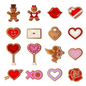 Ensemble de biscuits au pain d'épice saint valentin