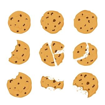 Ensemble de biscuits avec des chips au chocolat mordus de miettes de biscuits cassés dans un style plat de dessin animé