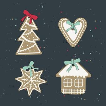 Ensemble de biscuits de pain d'épice de noël avec glaçage blanc bonbons décorations festives du nouvel an