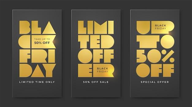 Ensemble de black friday sale avec feuille d'or typographique. offre limitée et remises jusqu'à cinquante pour cent.