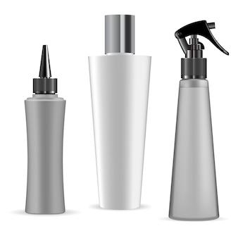 Ensemble blanc de récipient cosmétique en plastique blanc