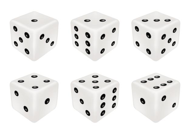 Ensemble d'un dé blanc en trois dimensions