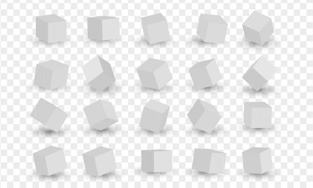 Ensemble des blocs 3d blancs, cubes. illustration vectorielle de modélisation 3d
