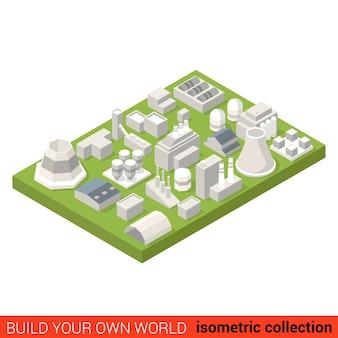 Ensemble de blocs de construction d'installation de chaleur d'énergie électrique isométrique plat concept infographique cheminée de station de hangar de chauffage de turbine construisez votre propre collection mondiale d'infographie