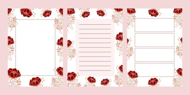 Ensemble de blocs-notes floraux isolés sur rose