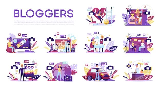 Ensemble de blogger. divers blogueurs vidéo font un examen.