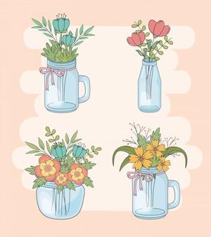 Ensemble de bocaux mason avec décorations florales