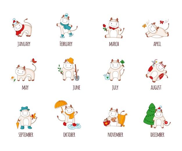 Ensemble de bœuf ou de taureau blanc de dessin animé, animaux domestiques pour le calendrier
