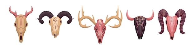 Ensemble bohème de crâne d'animal dans un style bohème contour plat et style simple