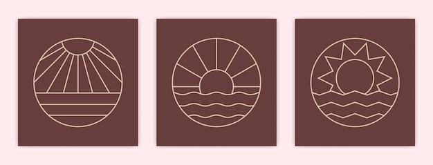 Ensemble de boho abstrait minimaliste coucher de soleil ou lever de soleil dans l'illustration de l'affiche de l'océan