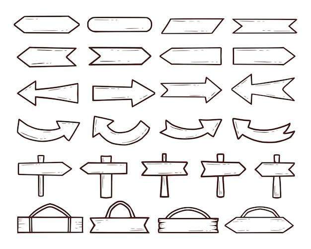Ensemble de bois signe et flèche main dessin dessin animé contour
