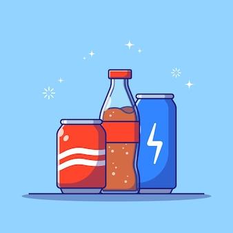 Ensemble de boisson gazeuse eau gazeuse en plastique et aluminium emballage plat cartoon illustration isolé