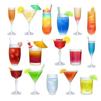 Ensemble de boissons alcoolisées et autres boissons