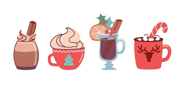 Ensemble de boissons de noël cacao avec guimauves et chocolat chaud et vin chaud