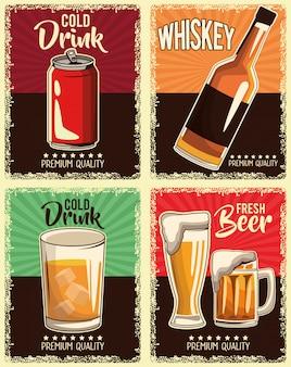 Ensemble de boissons vintage