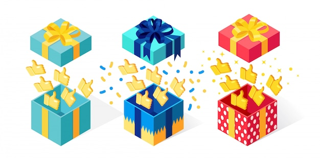 Ensemble de boîte-cadeau ouvert avec les pouces vers le haut sur fond blanc. paquet isométrique, surprise avec des confettis. témoignages, commentaires, concept d'avis client. dessin animé