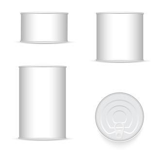 Ensemble de boîte de conserve blanche et métallique.
