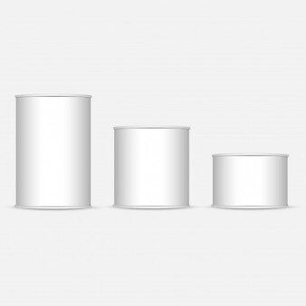 Ensemble de boîte de conserve blanche et métallique