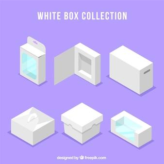 Ensemble de boîtes blanches à l'expédition dans le style plat