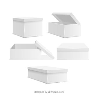 Ensemble de boîtes blanches à l'expédition dans un style réaliste