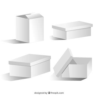 Ensemble de boîtes blanches à l'expédition
