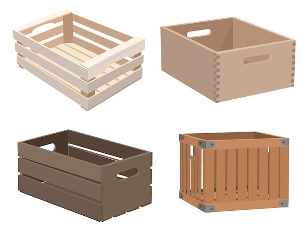 Ensemble de boîtes en bois. collection de boîtes en bois. illustration vectorielle pour les enfants.
