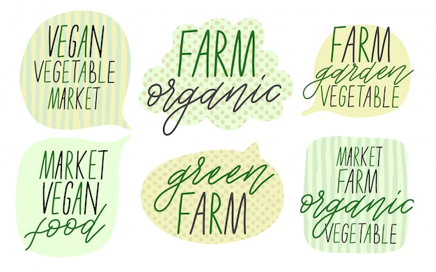 Ensemble de boîtes à bulles. texte pour le légume de la ferme.