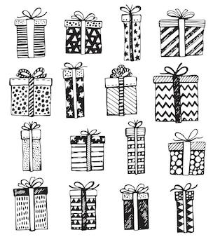 Ensemble de boîtes à cadeaux ornés de noël ou d'anniversaire dessinés à la main