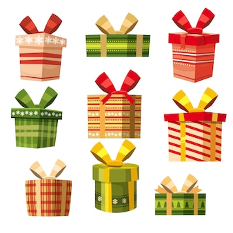 Ensemble de boîtes-cadeaux, style cartoon, bannière, vecteur, illustration