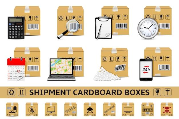 Ensemble de boîtes en carton de livraison