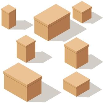 Ensemble de boîtes en carton de métier d'emballage. illustration de dessin animé isométrique. isolé