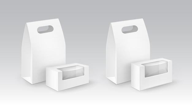 Ensemble de boîtes à lunch en carton blanc blanc à emporter avec poignée pour sandwich, nourriture, avec fenêtres en plastique.