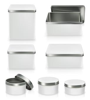 Ensemble de boîtes métalliques. boîte en métal isolé sur blanc