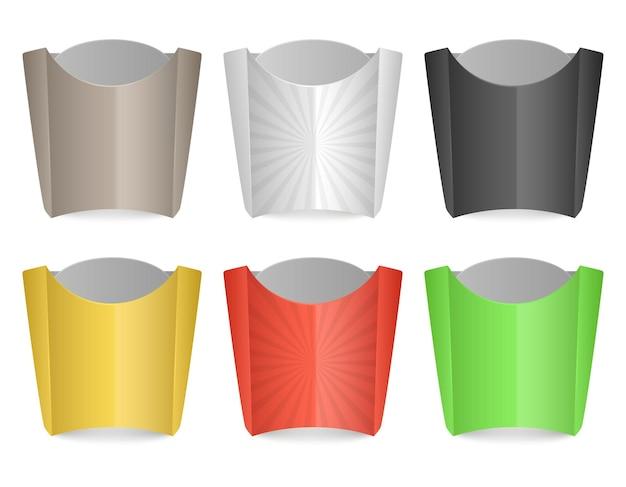 Ensemble de boîtes de papier frites de différentes couleurs isolés. emballage du produit