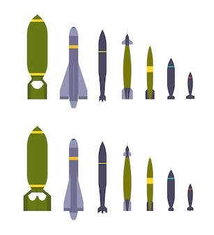 Ensemble des bombes aériennes. les objets sont isolés sur le fond blanc et montrés de deux côtés