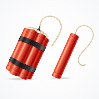 Ensemble de bombes à dynamite détonées. différents types.