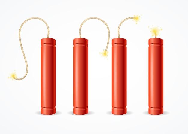 Ensemble de bombes à dynamite détonées