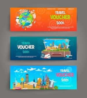 Ensemble de bon de voyage cadeau. modèle de carte-cadeau festive, coupon et certificat. modèle de coupon de réduction.