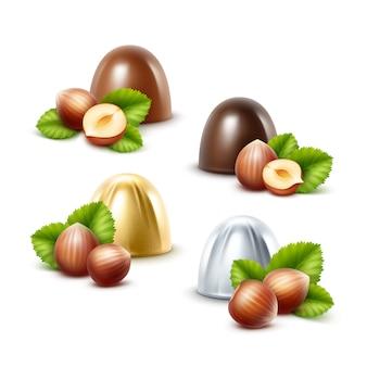 Ensemble de bonbons au chocolat au lait noir aux noisettes