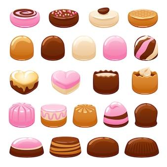 Ensemble de bonbons au chocolat. bonbons assortis.