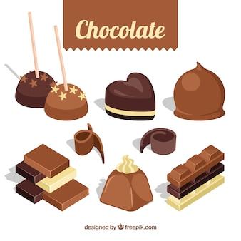 Ensemble de bonbons au chocolat avec différentes saveurs