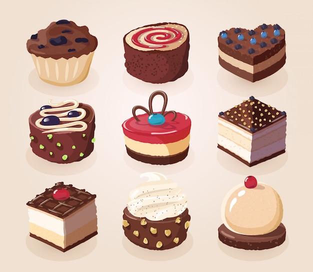 Ensemble de bonbons au chocolat, gâteaux et autres aliments au chocolat.