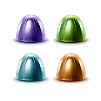 Ensemble de bonbons au chocolat réalistes dans une enveloppe en aluminium brillant violet vert bleu brun