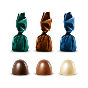 Ensemble de bonbons au chocolat réalistes